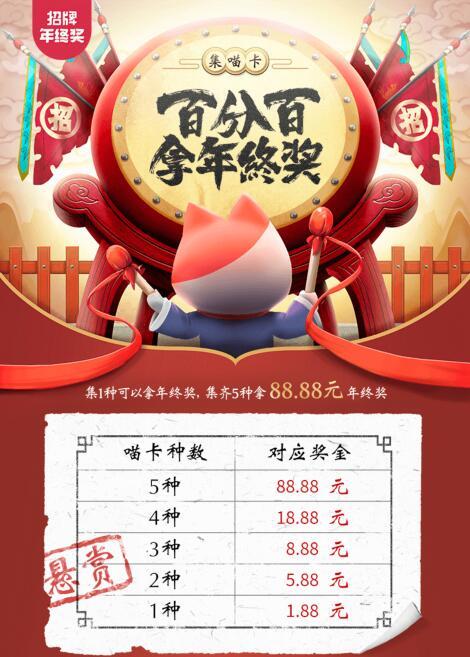 招商银行年终奖集喵卡领1.88—88.88元现金